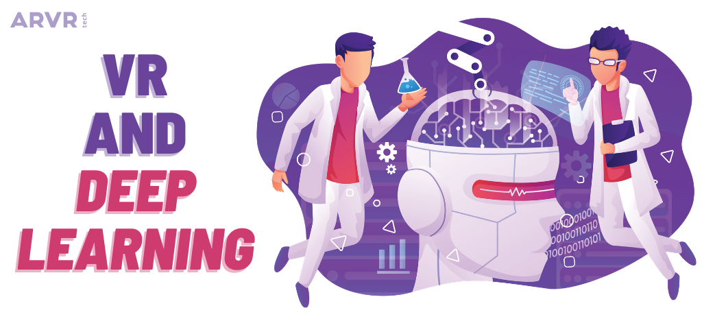 Illustration of two scientists examining a robot head. The title says: VR and deep learning.